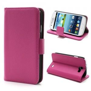 Samsung Galaxy Express - etui na telefon i dokumenty - Litchi różowe