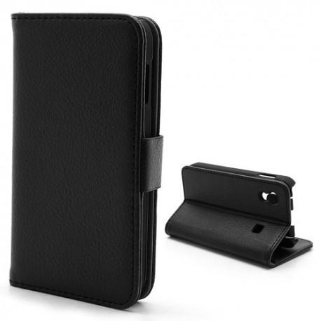 Samsung Galaxy Ace - etui na telefon i dokumenty - Litchi czarne