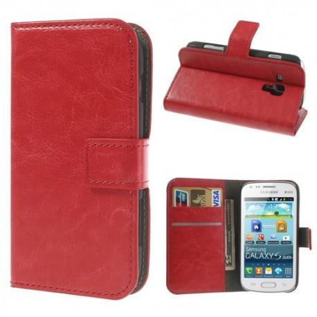 Samsung Galaxy Trend / Trend Plus - etui na telefon i dokumenty - CH czerwone