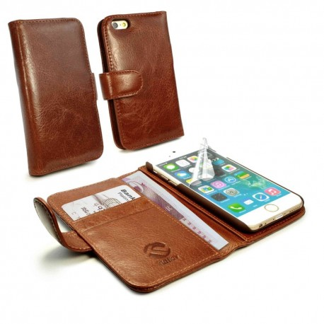 Apple iPhone 6 - etui na telefon i dokumenty -Tuff-Luv skórzane brązowe