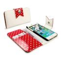Apple iPhone 6 Portfel Etui – Tuff-Luv Białe/Czerwony Polka