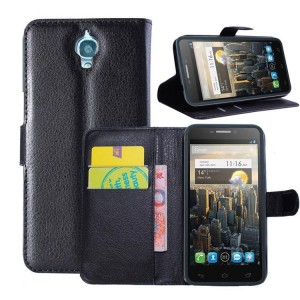 Alcatel One Touch Idol - etui na telefon i dokumenty - Lychee czarne