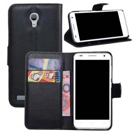 Alcatel One Touch Idol 2 Mini S - etui na telefon i dokumenty - Litchi czarne