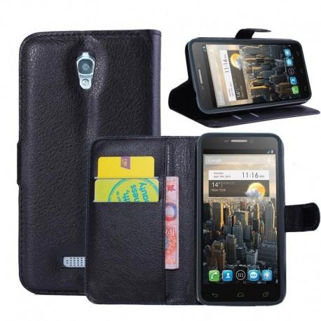 Alcatel One Touch Pop S7 - etui na telefon i dokumenty - Litchi czarne
