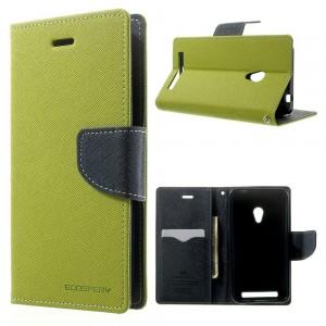 Asus Zenfone 4 - etui na telefon i dokumenty - Fancy zielone