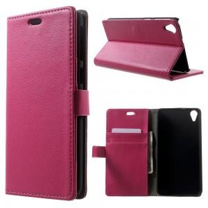 HTC Desire 820 - etui na telefon i dokumenty - Lychee ciemnoróżowe