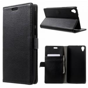 HTC Desire 820 - etui na telefon i dokumenty - Lychee czarne