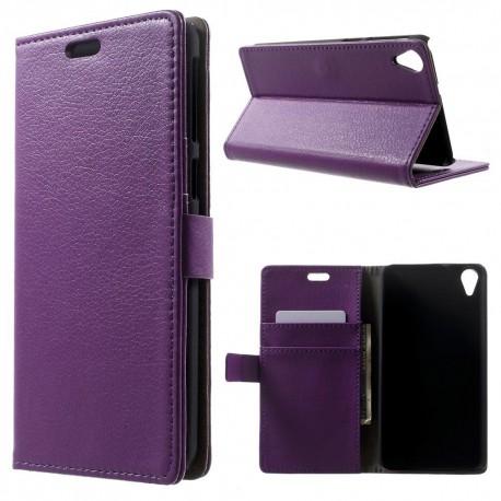 HTC Desire 820 - etui na telefon i dokumenty - Lychee purpurowe