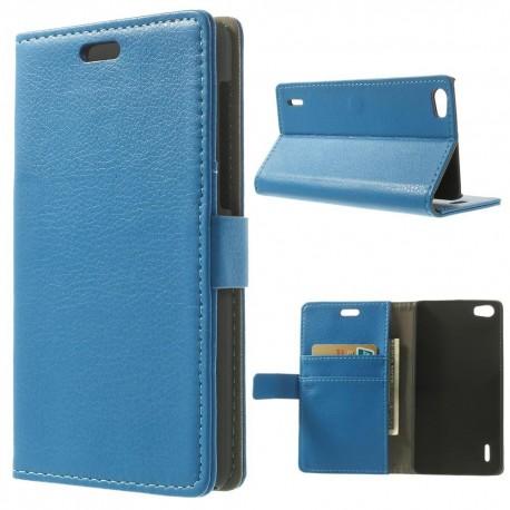 Huawei Honor 6 - etui na telefon i dokumenty - Litchi niebieskie