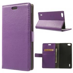 Huawei Honor 6 - etui na telefon i dokumenty - Litchi purpurowe