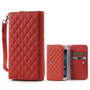 Uniwersalne Etui 13.8×7.1cm - etui na telefon i dokumenty - Rhombus czerwone