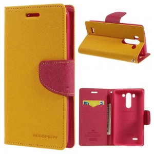 LG G3 S - etui na telefon i dokumenty - Goospery Fancy żółte