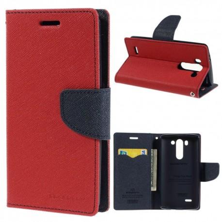 LG G3 S - etui na telefon i dokumenty - Goospery Fancy czerwone