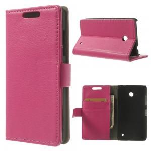Nokia Lumia 630 - etui na telefon i dokumenty - Litchi różowe