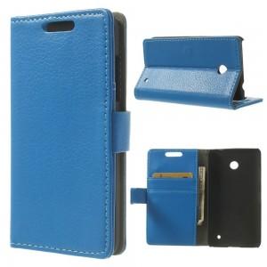 Nokia Lumia 630 - etui na telefon i dokumenty - Litchi niebieskie