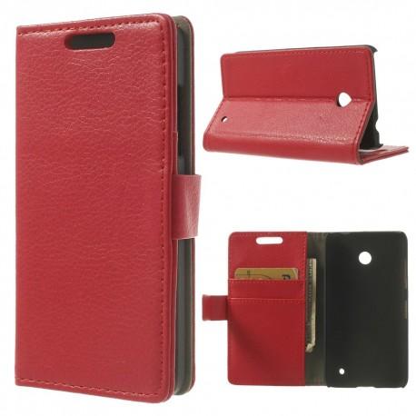 Nokia Lumia 630 - etui na telefon i dokumenty - Litchi czerwone