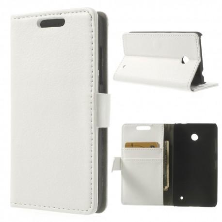 Nokia Lumia 630 - etui na telefon i dokumenty - Litchi białe