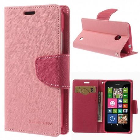 Nokia Lumia 630 / 635 - etui na telefon i dokumenty - Fancy różowe