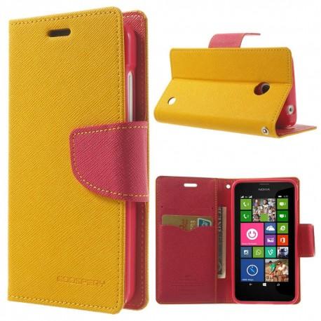 Nokia Lumia 630 / 635 - etui na telefon i dokumenty - Fancy żółte