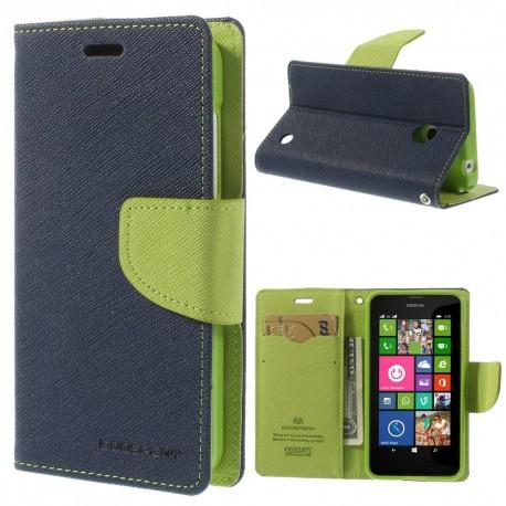 Nokia Lumia 630 / 635 - etui na telefon i dokumenty - Fancy niebieskie