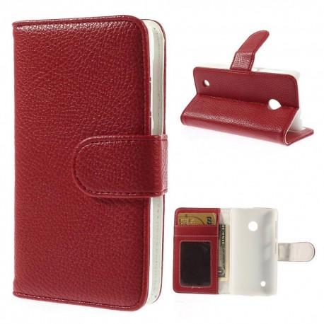 Nokia Lumia 530 - etui na telefon i dokumenty - Litchi czerwone