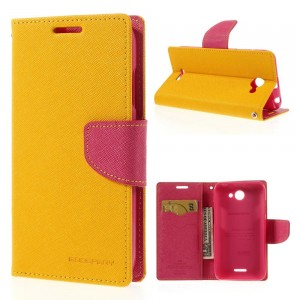 HTC Desire 516 - etui na telefon i dokumenty - Fancy żółte