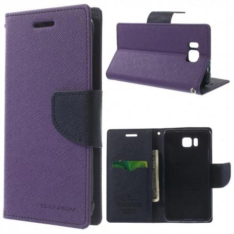 Samsung Galaxy Alpha - etui na telefon i dokumenty - Fancy purpurowe