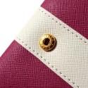 Uniwersalny Portfel Etui 13,2x7cm – Ciemny Różowy / Białe