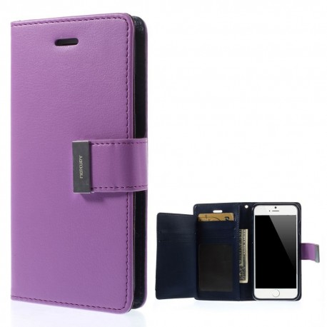 Apple iPhone 6 Plus - etui na telefon i dokumenty - Rich Diary purpurowe