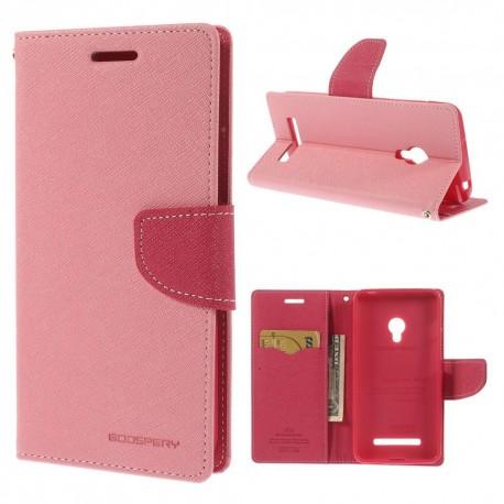 Asus Zenfone 5 - etui na telefon i dokumenty - Fancy różowy