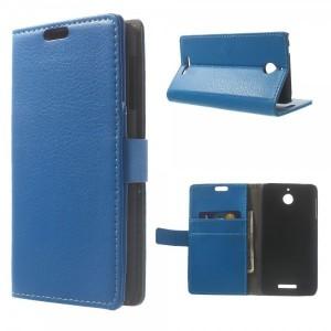 HTC Desire 510 - etui na telefon i dokumenty - Litchi niebieskie