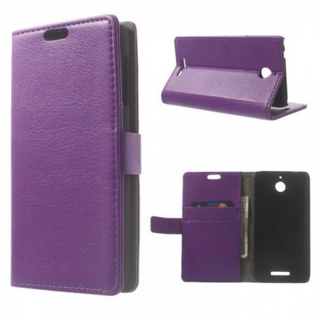 HTC Desire 510 - etui na telefon i dokumenty - Litchi purpurowe