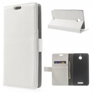 HTC Desire 510 - etui na telefon i dokumenty - Litchi białe