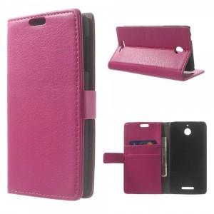 HTC Desire 510 - etui na telefon i dokumenty - Litchi ciemnoróżowe