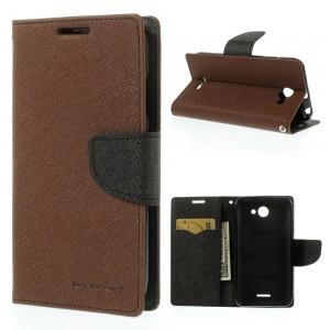 HTC Desire 516 - etui na telefon i dokumenty - Fancy brązowe