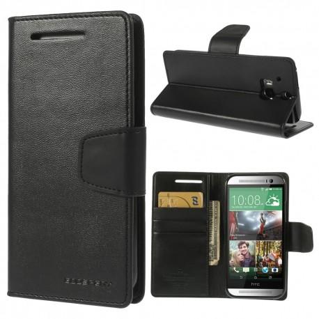 HTC One M8 - etui na telefon i dokumenty - Sonata czarne