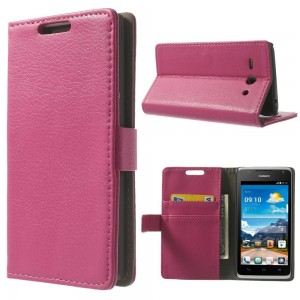 Huawei Ascend Y530 - etui na telefon i dokumenty - Litchi różowe
