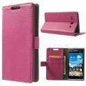 Huawei Ascend Y530 Portfel Etui – Litchi Różowy