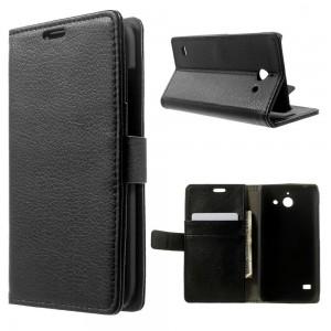 Huawei Ascend Y550 - etui na telefon i dokumenty - Litchi czarne