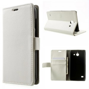 Huawei Ascend Y550 - etui na telefon i dokumenty - Litchi białe