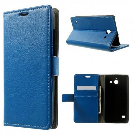 Huawei Ascend Y550 - etui na telefon i dokumenty - Litchi niebieskie