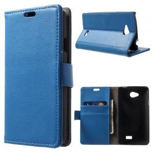 LG F60 - etui na telefon i dokumenty - Litchi niebieskie