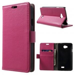 LG F60 - etui na telefon i dokumenty - Litchi ciemnoróżowe