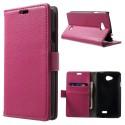LG F60 Portfel Etui – PU Skóra Litchi Ciemny Różowy