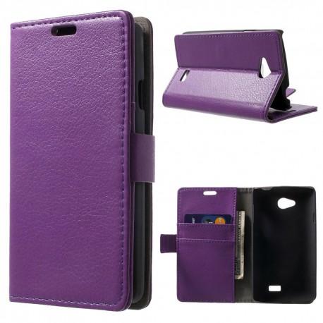 LG F60 - etui na telefon i dokumenty - Litchi purpurowe