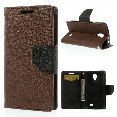 LG F70 - etui na telefon i dokumenty - Fancy Goospery brązowe