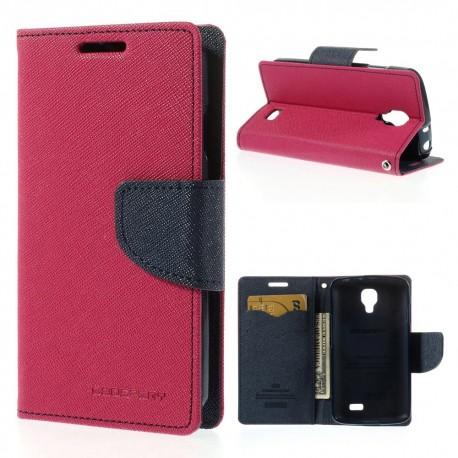 LG F70 - etui na telefon i dokumenty - Fancy Goospery ciemnoróżowe