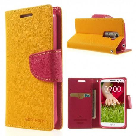 LG G2 Mini - etui na telefon i dokumenty - Fancy Goospery żółte