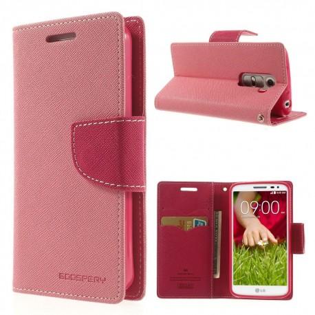 LG G2 Mini - etui na telefon i dokumenty - Fancy Goospery różowe
