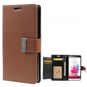 LG G3 - etui na telefon i dokumenty - Rich Diary brązowe
